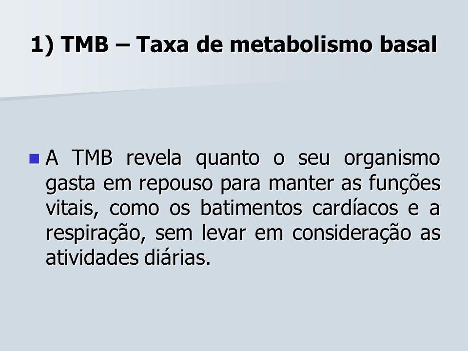 1) TMB – Taxa de metabolismo basal A TMB revela quanto o seu organismo gasta em repouso para manter as funções vitais, como os batimentos cardíacos e