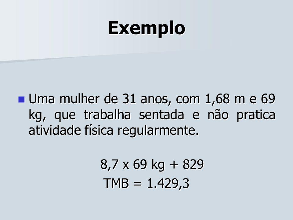 Exemplo Uma mulher de 31 anos, com 1,68 m e 69 kg, que trabalha sentada e não pratica atividade física regularmente. Uma mulher de 31 anos, com 1,68 m