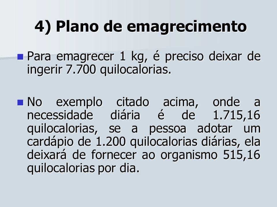 4) Plano de emagrecimento 4) Plano de emagrecimento Para emagrecer 1 kg, é preciso deixar de ingerir 7.700 quilocalorias. Para emagrecer 1 kg, é preci