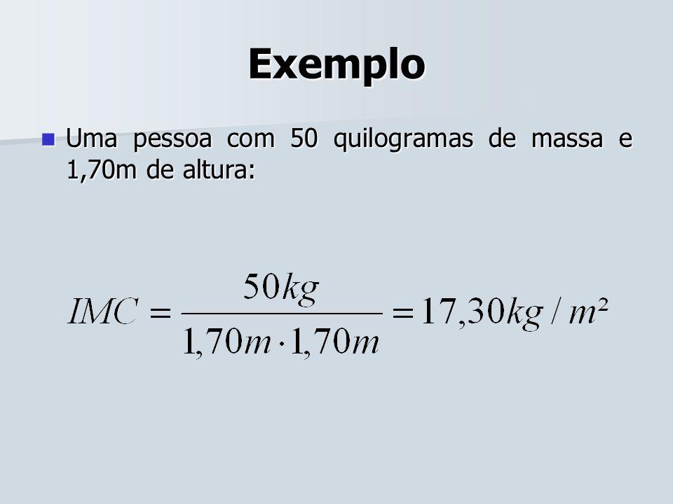 Exemplo Uma pessoa com 50 quilogramas de massa e 1,70m de altura: Uma pessoa com 50 quilogramas de massa e 1,70m de altura: