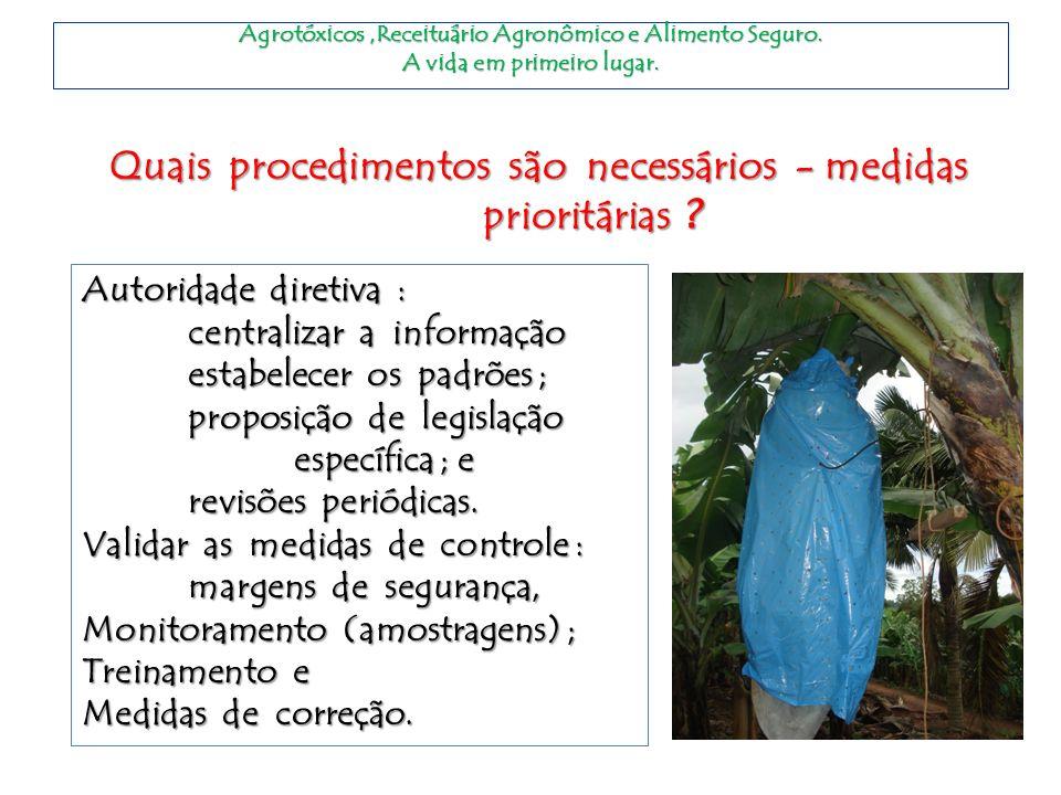 Agrotóxicos,Receituário Agronômico e Alimento Seguro. A vida em primeiro lugar. Quais procedimentos são necessários - medidas prioritárias ? Autoridad