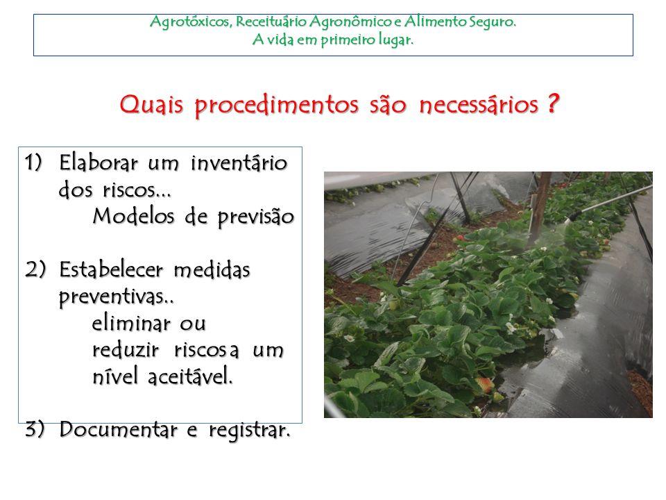 Agrotóxicos, Receituário Agronômico e Alimento Seguro. A vida em primeiro lugar. Quais procedimentos são necessários ? 1)Elaborar um inventário dos ri