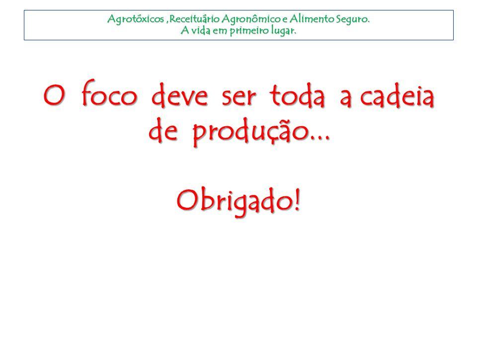 O foco deve ser toda a cadeia de produção... Obrigado! Agrotóxicos,Receituário Agronômico e Alimento Seguro. A vida em primeiro lugar.
