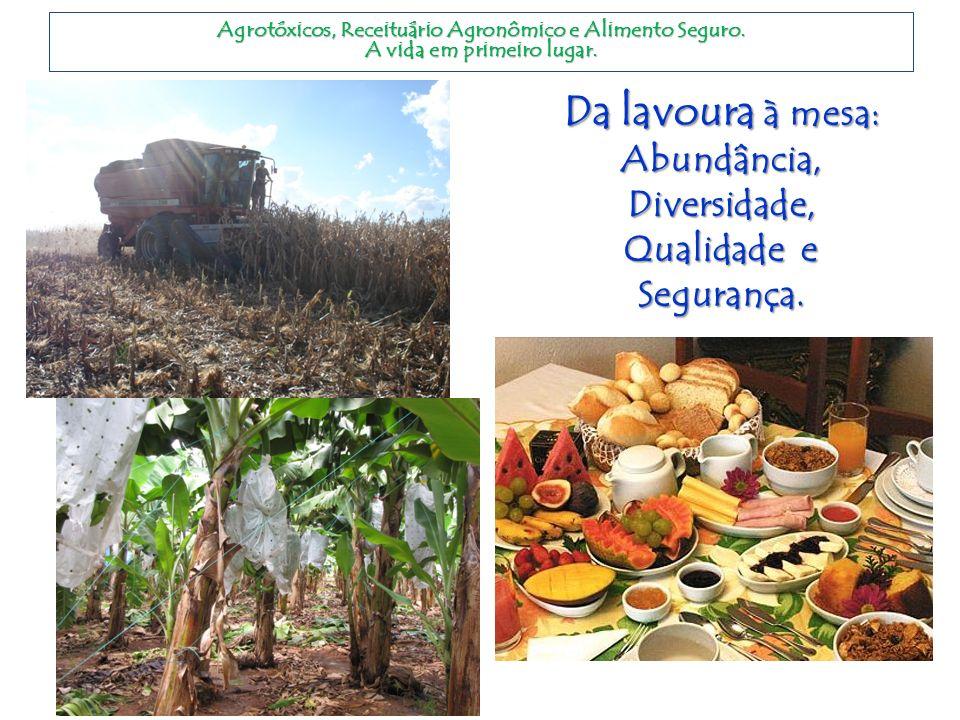 Da lavoura à mesa: Abundância, Diversidade, Qualidade e Segurança. Agrotóxicos, Receituário Agronômico e Alimento Seguro. A vida em primeiro lugar.