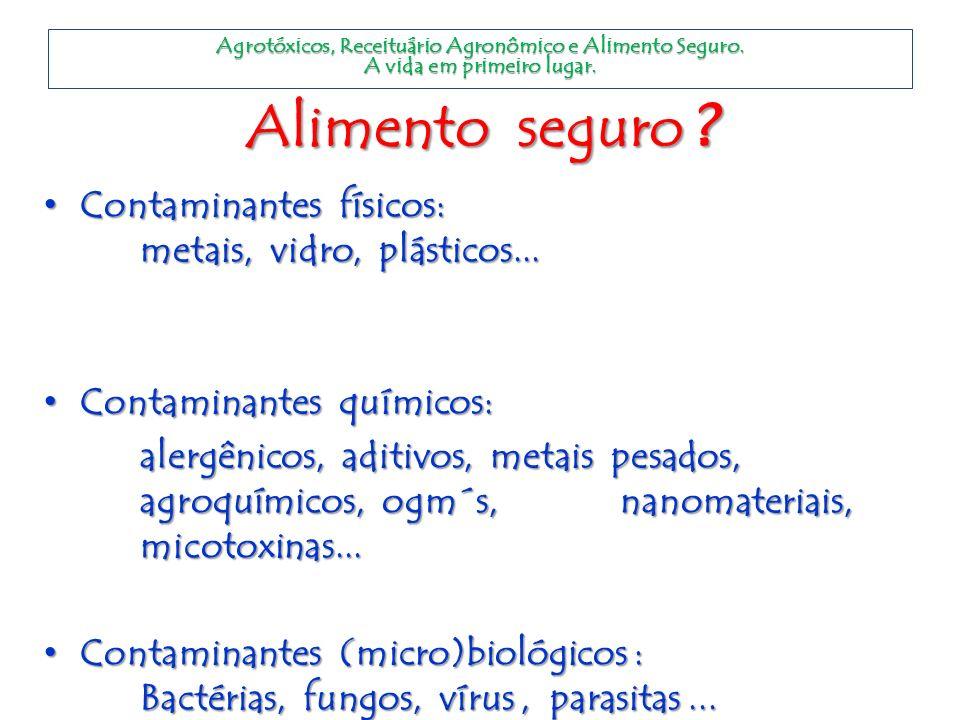 Alimento seguro ? Contaminantes físicos: metais, vidro, plásticos... Contaminantes físicos: metais, vidro, plásticos... Contaminantes químicos: Contam