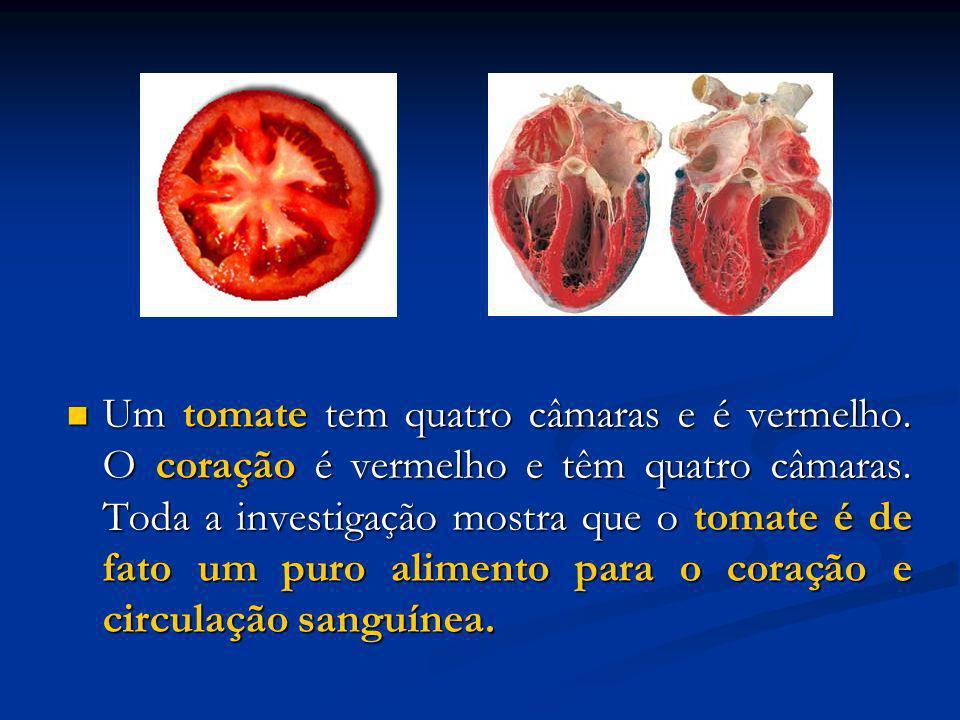 Um tomate tem quatro câmaras e é vermelho. O coração é vermelho e têm quatro câmaras. Toda a investigação mostra que o tomate é de fato um puro alimen