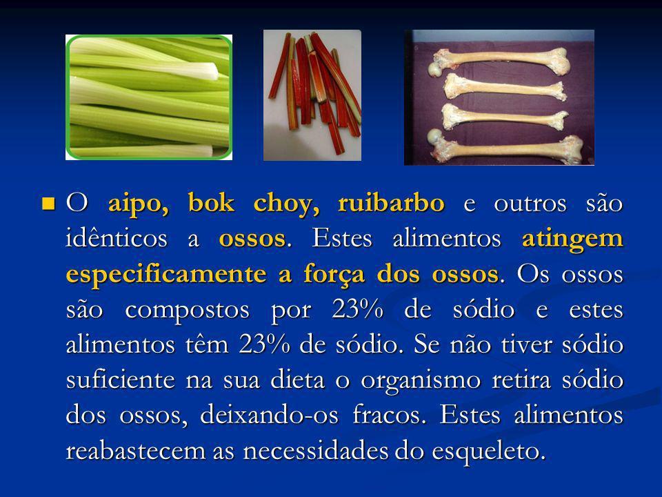 O aipo, bok choy, ruibarbo e outros são idênticos a ossos. Estes alimentos atingem especificamente a força dos ossos. Os ossos são compostos por 23% d