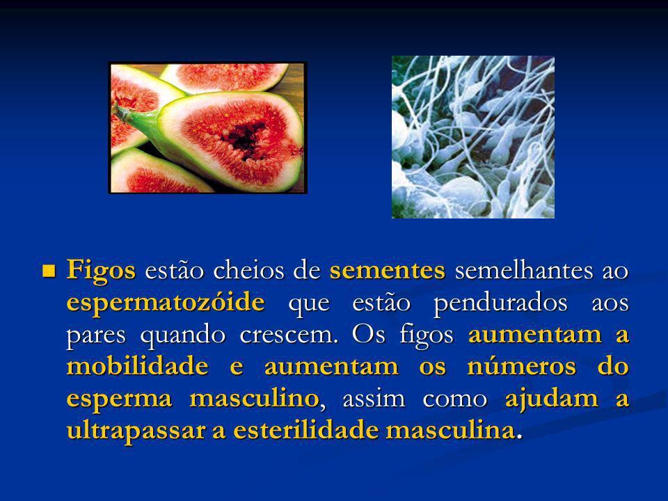 Figos estão cheios de sementes semelhantes ao espermatozóide que estão pendurados aos pares quando crescem. Os figos aumentam a mobilidade e aumentam