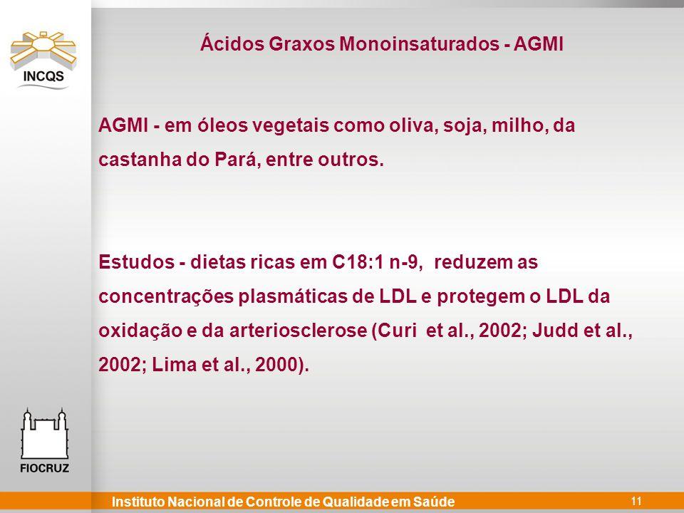 Instituto Nacional de Controle de Qualidade em Saúde 11 AGMI - em óleos vegetais como oliva, soja, milho, da castanha do Pará, entre outros. Estudos -