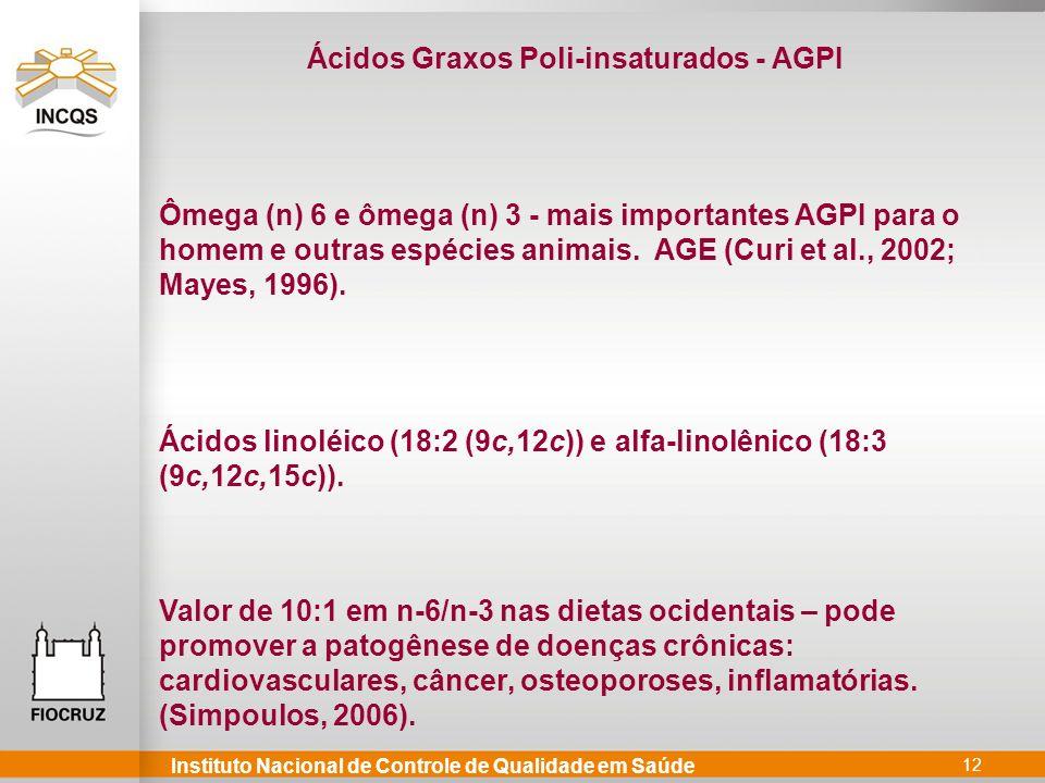Instituto Nacional de Controle de Qualidade em Saúde 12 Ácidos Graxos Poli-insaturados - AGPI Ômega (n) 6 e ômega (n) 3 - mais importantes AGPI para o homem e outras espécies animais.
