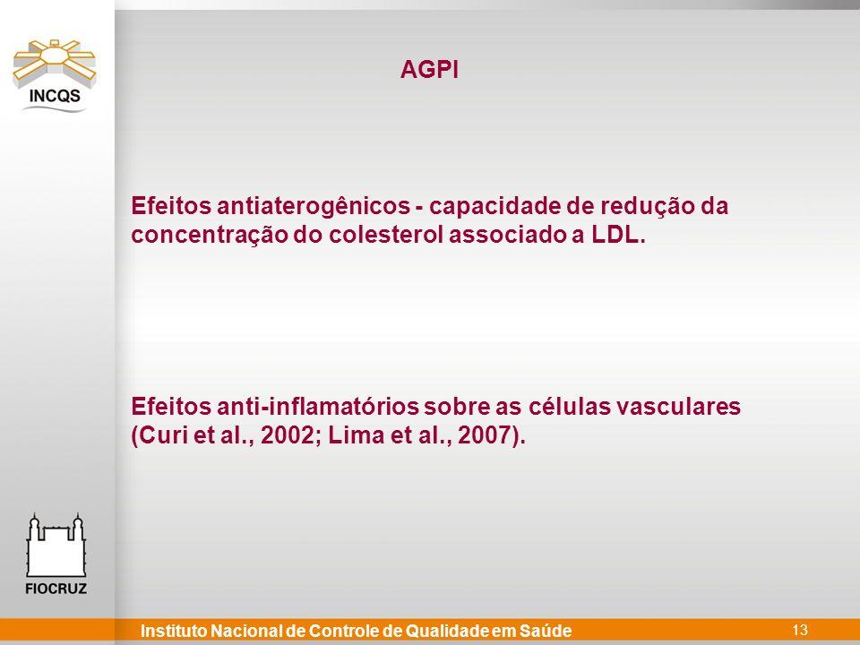 Instituto Nacional de Controle de Qualidade em Saúde 13 Efeitos antiaterogênicos - capacidade de redução da concentração do colesterol associado a LDL