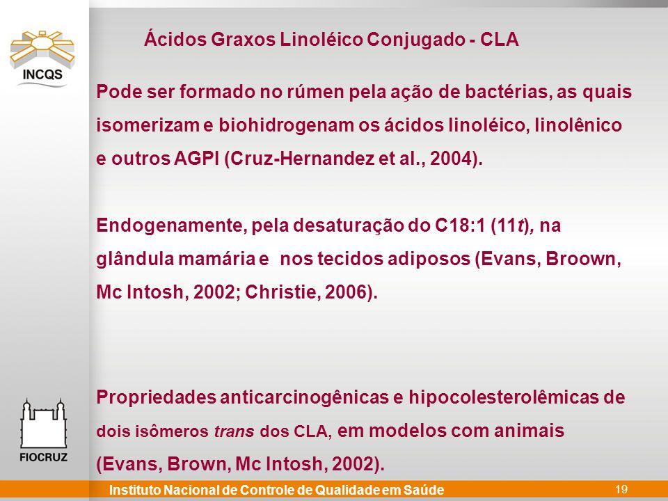 Instituto Nacional de Controle de Qualidade em Saúde 19 Pode ser formado no rúmen pela ação de bactérias, as quais isomerizam e biohidrogenam os ácidos linoléico, linolênico e outros AGPI (Cruz-Hernandez et al., 2004).