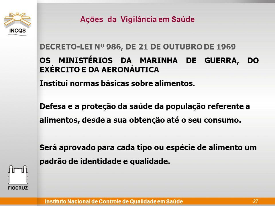 Instituto Nacional de Controle de Qualidade em Saúde 27 DECRETO-LEI Nº 986, DE 21 DE OUTUBRO DE 1969 OS MINISTÉRIOS DA MARINHA DE GUERRA, DO EXÉRCITO E DA AERONÁUTICA Institui normas básicas sobre alimentos.