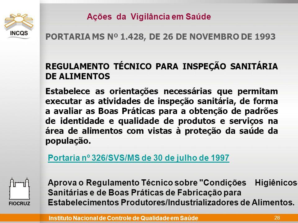 Instituto Nacional de Controle de Qualidade em Saúde 28 PORTARIA MS Nº 1.428, DE 26 DE NOVEMBRO DE 1993 REGULAMENTO TÉCNICO PARA INSPEÇÃO SANITÁRIA DE
