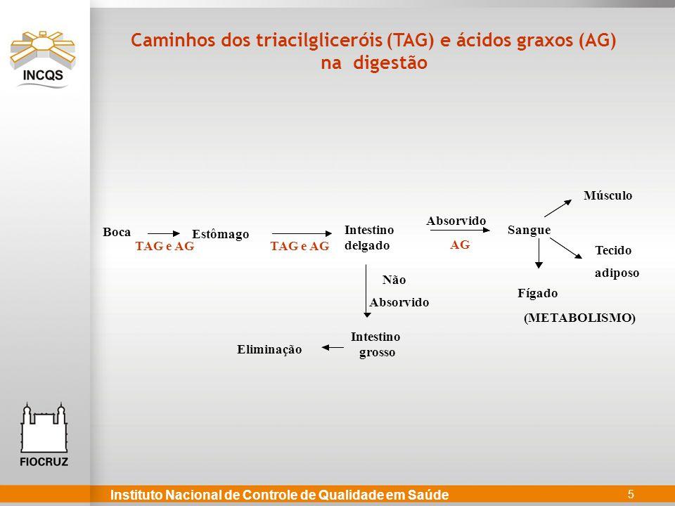5 Estômago Intestino delgado Sangue Fígado Absorvido Intestino grosso TAG e AG Não Absorvido (METABOLISMO) Caminhos dos triacilgliceróis (TAG) e ácidos graxos (AG) na digestão Músculo Tecido adiposo TAG e AG Eliminação Boca AG