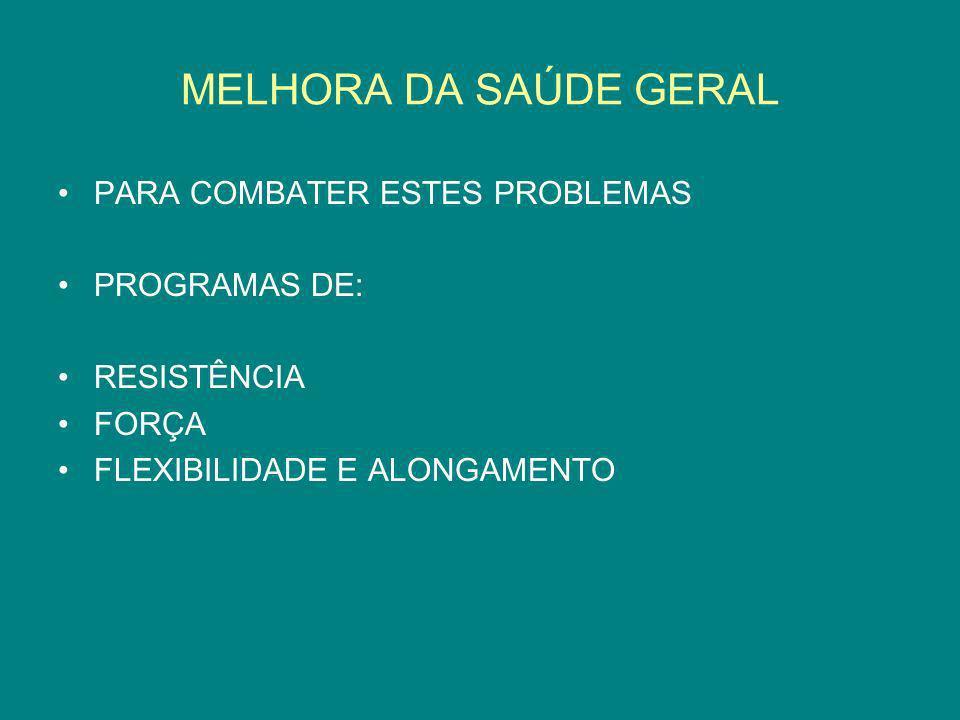 MELHORA DA SAÚDE GERAL PARA COMBATER ESTES PROBLEMAS PROGRAMAS DE: RESISTÊNCIA FORÇA FLEXIBILIDADE E ALONGAMENTO