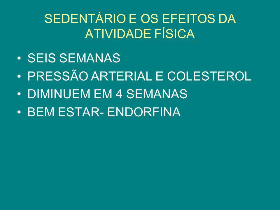 SEDENTÁRIO E OS EFEITOS DA ATIVIDADE FÍSICA SEIS SEMANAS PRESSÃO ARTERIAL E COLESTEROL DIMINUEM EM 4 SEMANAS BEM ESTAR- ENDORFINA