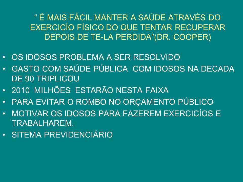 É MAIS FÁCIL MANTER A SAÚDE ATRAVÉS DO EXERCICÍO FÍSICO DO QUE TENTAR RECUPERAR DEPOIS DE TE-LA PERDIDA(DR. COOPER) OS IDOSOS PROBLEMA A SER RESOLVIDO