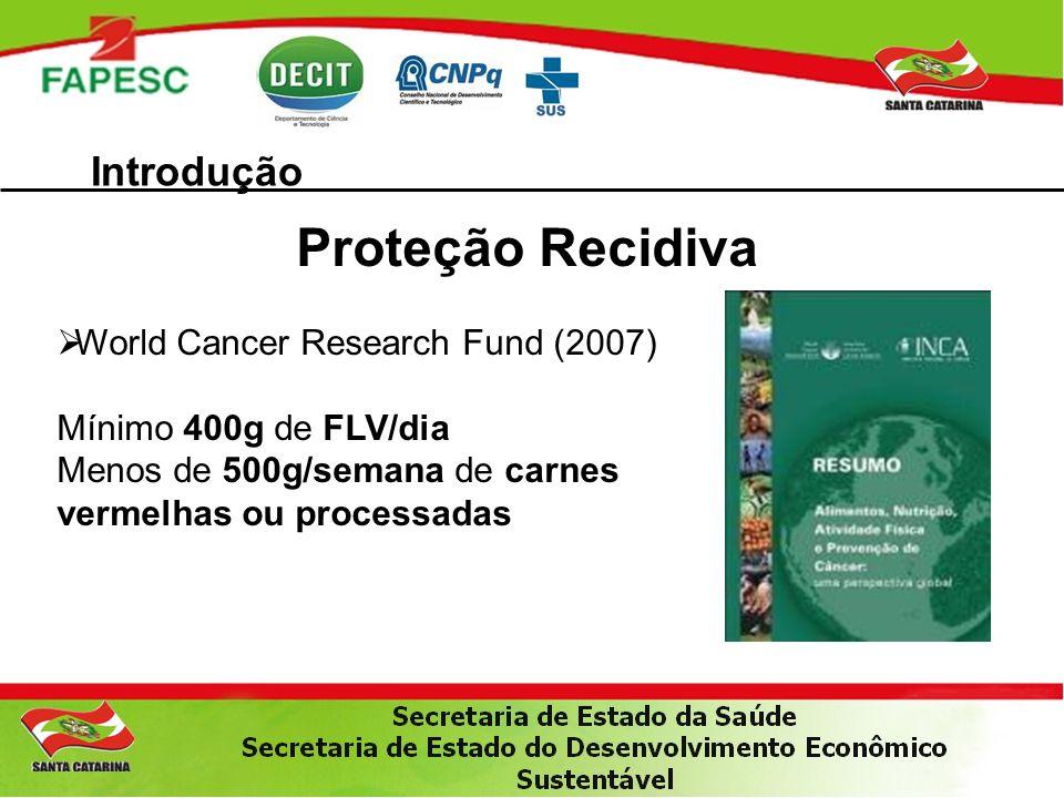 Introdução Proteção Recidiva World Cancer Research Fund (2007) Mínimo 400g de FLV/dia Menos de 500g/semana de carnes vermelhas ou processadas