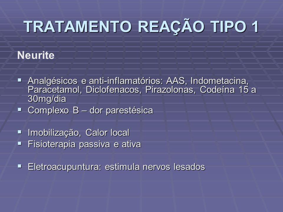 TRATAMENTO REAÇÃO TIPO 1 Neurite Analgésicos e anti-inflamatórios: AAS, Indometacina, Paracetamol, Diclofenacos, Pirazolonas, Codeína 15 a 30mg/dia Analgésicos e anti-inflamatórios: AAS, Indometacina, Paracetamol, Diclofenacos, Pirazolonas, Codeína 15 a 30mg/dia Complexo B – dor parestésica Complexo B – dor parestésica Imobilização, Calor local Imobilização, Calor local Fisioterapia passiva e ativa Fisioterapia passiva e ativa Eletroacupuntura: estimula nervos lesados Eletroacupuntura: estimula nervos lesados