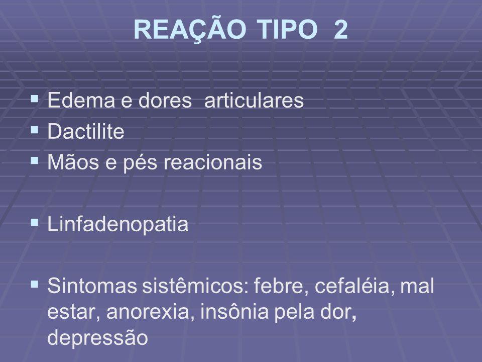 REAÇÃO TIPO 2 Edema e dores articulares Dactilite Mãos e pés reacionais Linfadenopatia Sintomas sistêmicos: febre, cefaléia, mal estar, anorexia, insônia pela dor, depressão