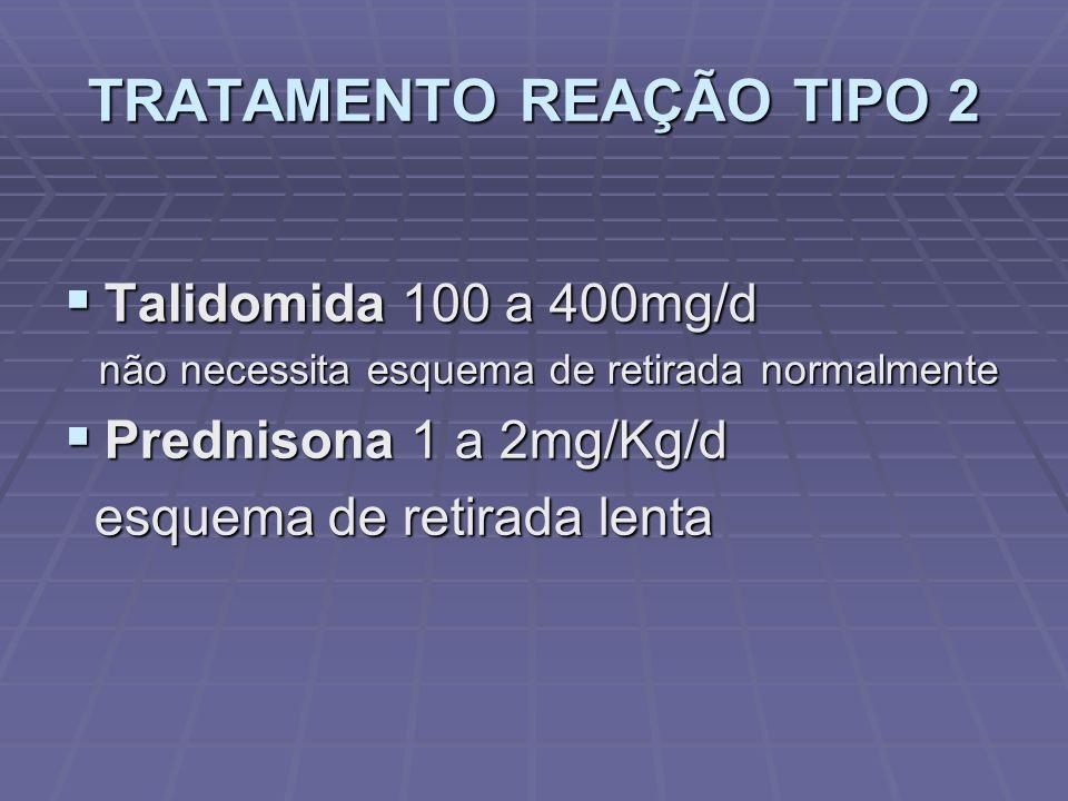 TRATAMENTO REAÇÃO TIPO 2 Talidomida 100 a 400mg/d Talidomida 100 a 400mg/d não necessita esquema de retirada normalmente não necessita esquema de retirada normalmente Prednisona 1 a 2mg/Kg/d Prednisona 1 a 2mg/Kg/d esquema de retirada lenta esquema de retirada lenta