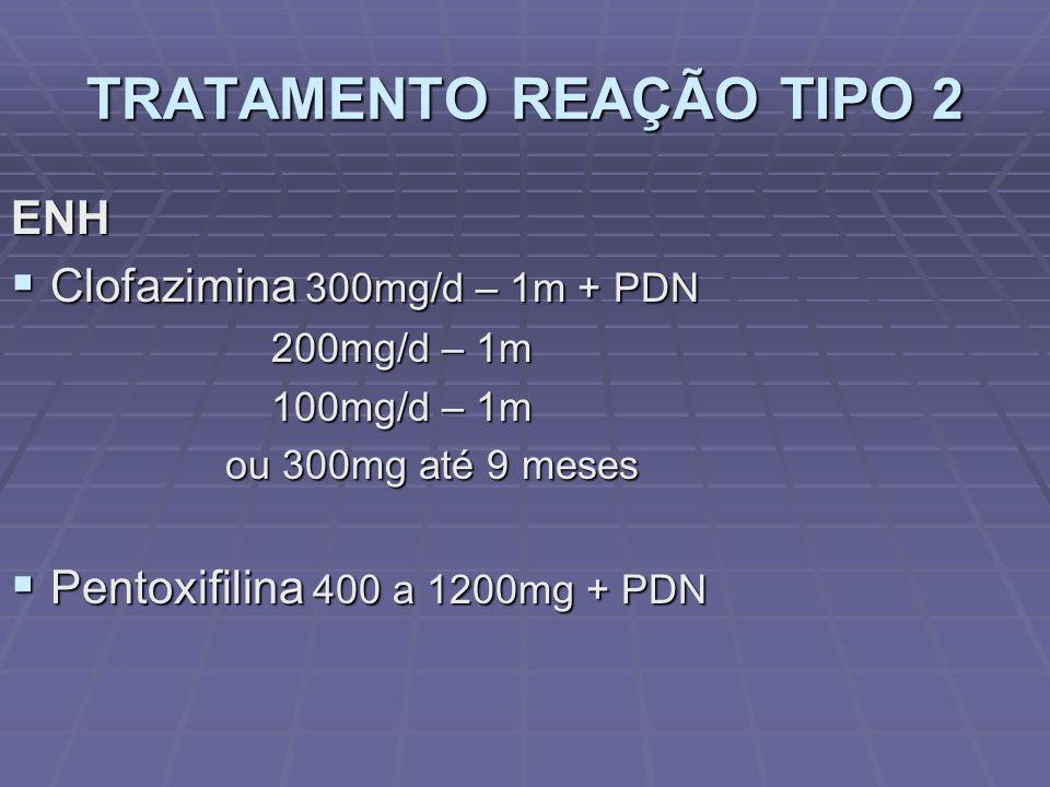 TRATAMENTO REAÇÃO TIPO 2 ENH Clofazimina 300mg/d – 1m + PDN Clofazimina 300mg/d – 1m + PDN 200mg/d – 1m 200mg/d – 1m 100mg/d – 1m 100mg/d – 1m ou 300mg até 9 meses ou 300mg até 9 meses Pentoxifilina 400 a 1200mg + PDN Pentoxifilina 400 a 1200mg + PDN