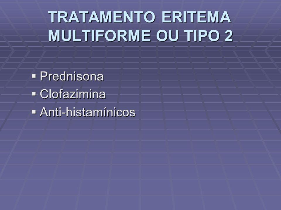 TRATAMENTO ERITEMA MULTIFORME OU TIPO 2 Prednisona Prednisona Clofazimina Clofazimina Anti-histamínicos Anti-histamínicos