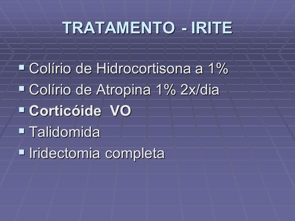 TRATAMENTO - IRITE Colírio de Hidrocortisona a 1% Colírio de Hidrocortisona a 1% Colírio de Atropina 1% 2x/dia Colírio de Atropina 1% 2x/dia Corticóide VO Corticóide VO Talidomida Talidomida Iridectomia completa Iridectomia completa