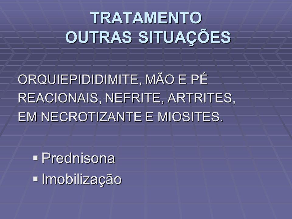 TRATAMENTO OUTRAS SITUAÇÕES ORQUIEPIDIDIMITE, MÃO E PÉ REACIONAIS, NEFRITE, ARTRITES, EM NECROTIZANTE E MIOSITES. Prednisona Prednisona Imobilização I