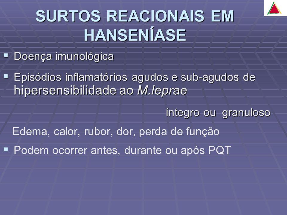 Doença imunológica Doença imunológica Episódios inflamatórios agudos e sub-agudos de hipersensibilidade ao M.leprae Episódios inflamatórios agudos e s