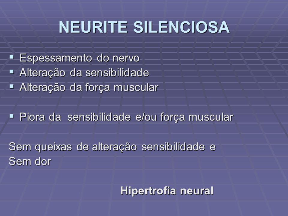NEURITE SILENCIOSA Espessamento do nervo Espessamento do nervo Alteração da sensibilidade Alteração da sensibilidade Alteração da força muscular Alter