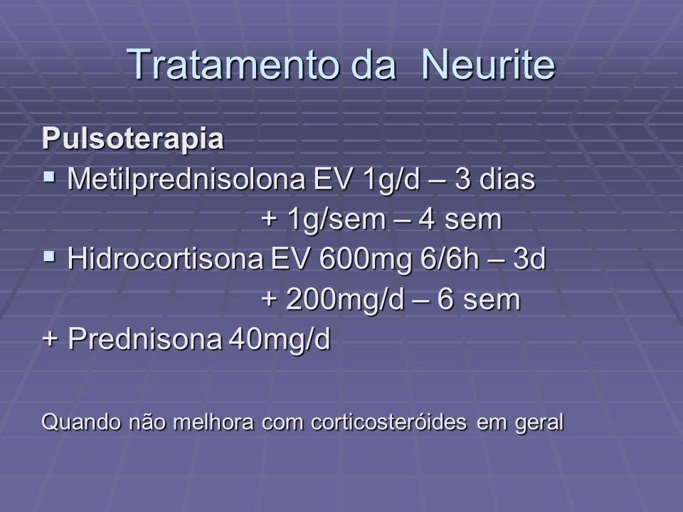 Tratamento da Neurite Pulsoterapia Metilprednisolona EV 1g/d – 3 dias Metilprednisolona EV 1g/d – 3 dias + 1g/sem – 4 sem + 1g/sem – 4 sem Hidrocortisona EV 600mg 6/6h – 3d Hidrocortisona EV 600mg 6/6h – 3d + 200mg/d – 6 sem + 200mg/d – 6 sem + Prednisona 40mg/d Quando não melhora com corticosteróides em geral