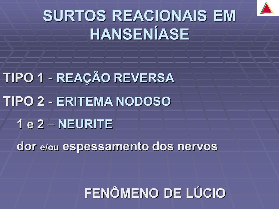 TIPO 1 - REAÇÃO REVERSA TIPO 2 - ERITEMA NODOSO 1 e 2 – NEURITE 1 e 2 – NEURITE dor e/ou espessamento dos nervos dor e/ou espessamento dos nervos FENÔMENO DE LÚCIO FENÔMENO DE LÚCIO
