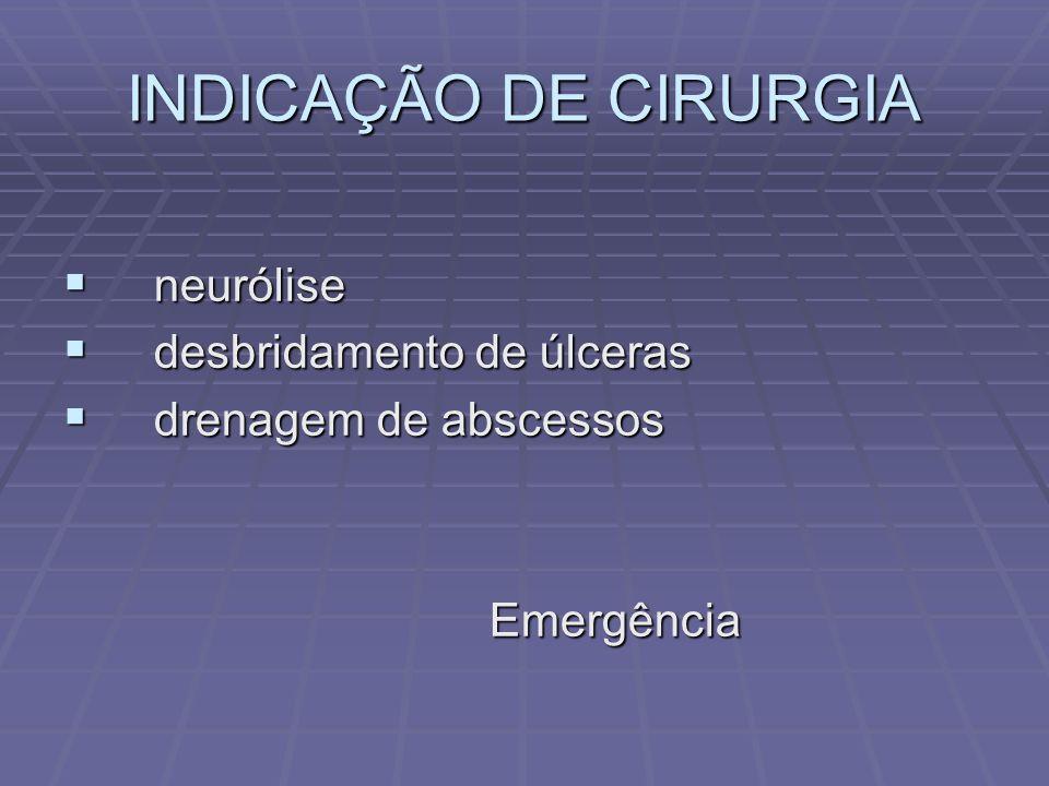 INDICAÇÃO DE CIRURGIA neurólise neurólise desbridamento de úlceras desbridamento de úlceras drenagem de abscessos drenagem de abscessos Emergência Emergência