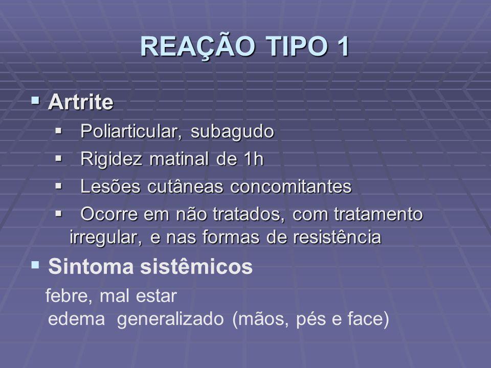 REAÇÃO TIPO 1 Artrite Artrite Poliarticular, subagudo Poliarticular, subagudo Rigidez matinal de 1h Rigidez matinal de 1h Lesões cutâneas concomitante