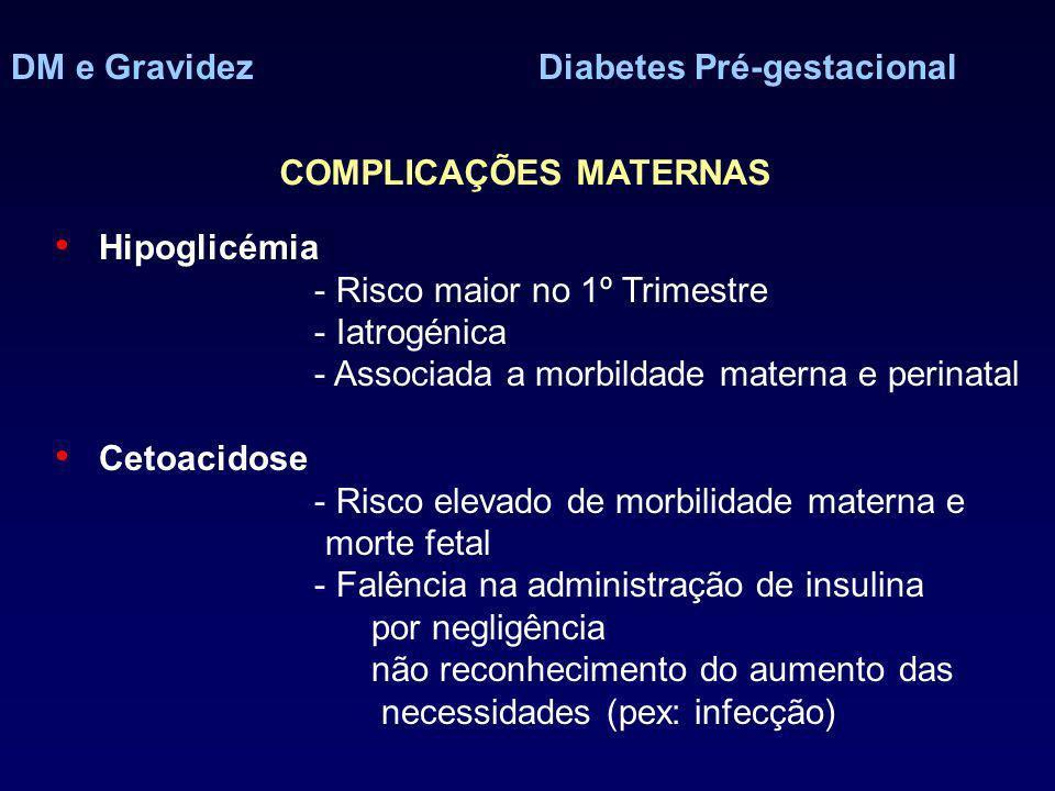 DM e GravidezDiabetes Pré-gestacional COMPLICAÇÕES MATERNAS Hipoglicémia - Risco maior no 1º Trimestre - Iatrogénica - Associada a morbildade materna