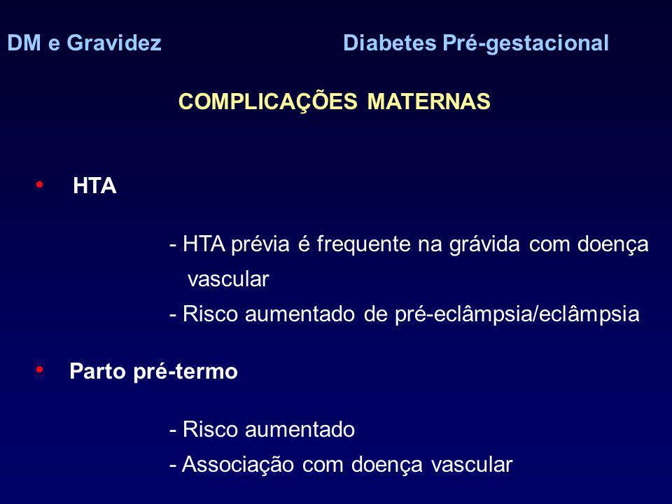 DM e GravidezDiabetes Pré-gestacional HTA - HTA prévia é frequente na grávida com doença vascular - Risco aumentado de pré-eclâmpsia/eclâmpsia Parto pré-termo - Risco aumentado - Associação com doença vascular COMPLICAÇÕES MATERNAS