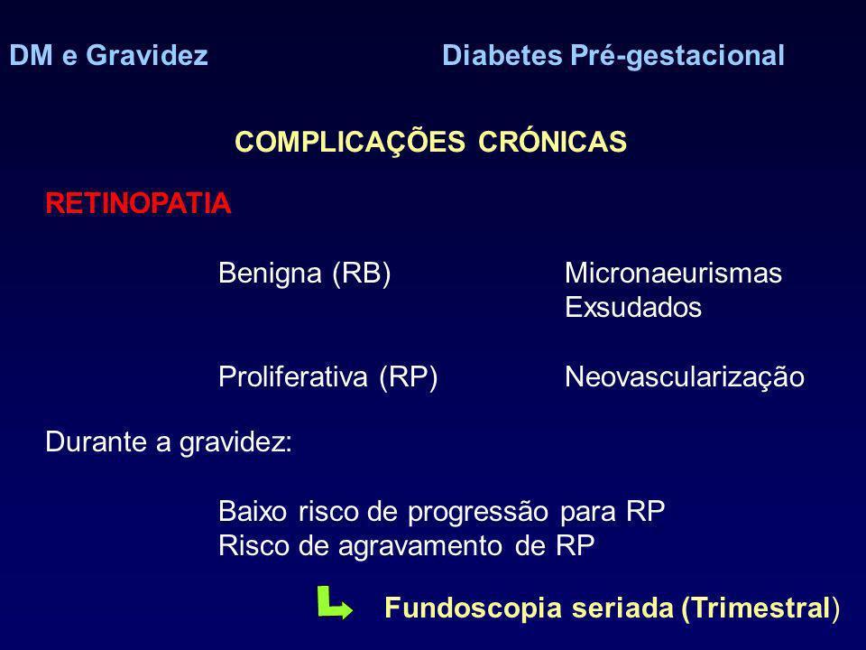 DM e GravidezDiabetes Pré-gestacional COMPLICAÇÕES CRÓNICAS RETINOPATIA Benigna (RB)Micronaeurismas Exsudados Proliferativa (RP)Neovascularização Dura