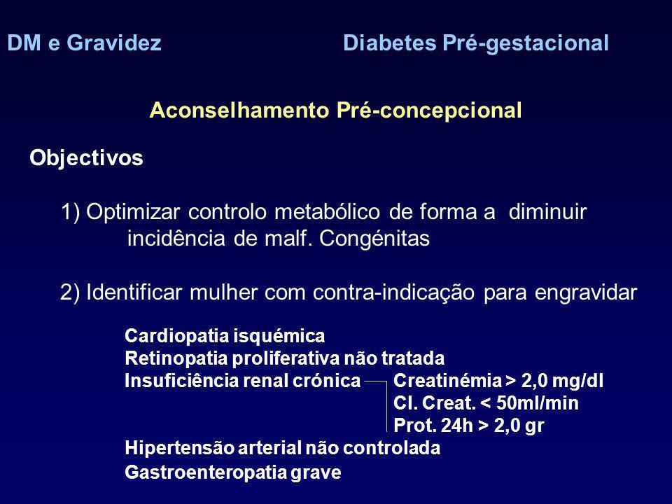 DM e GravidezDiabetes Pré-gestacional Aconselhamento Pré-concepcional Objectivos 1) Optimizar controlo metabólico de forma a diminuir incidência de malf.
