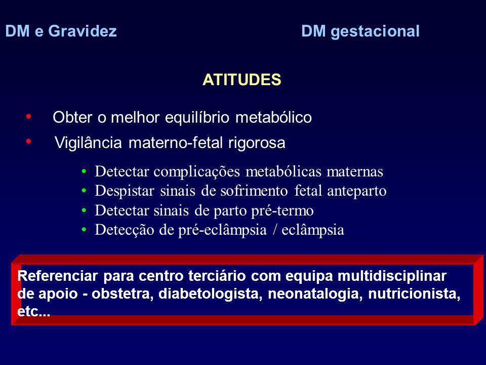 DM e Gravidez DM gestacional ATITUDES Obter o melhor equilíbrio metabólico Vigilância materno-fetal rigorosa Referenciar para centro terciário com equ