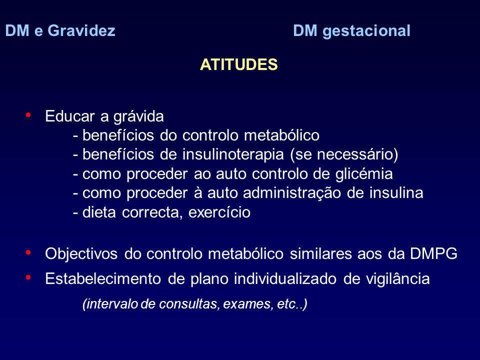 DM e Gravidez DM gestacional Educar a grávida - benefícios do controlo metabólico - benefícios de insulinoterapia (se necessário) - como proceder ao auto controlo de glicémia - como proceder à auto administração de insulina - dieta correcta, exercício Objectivos do controlo metabólico similares aos da DMPG Estabelecimento de plano individualizado de vigilância (intervalo de consultas, exames, etc..) ATITUDES