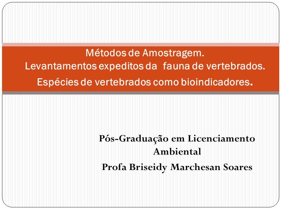 Pós-Graduação em Licenciamento Ambiental Profa Briseidy Marchesan Soares Métodos de Amostragem. Levantamentos expeditos da fauna de vertebrados. Espéc