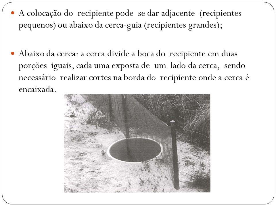 A colocação do recipiente pode se dar adjacente (recipientes pequenos) ou abaixo da cerca-guia (recipientes grandes); Abaixo da cerca: a cerca divide