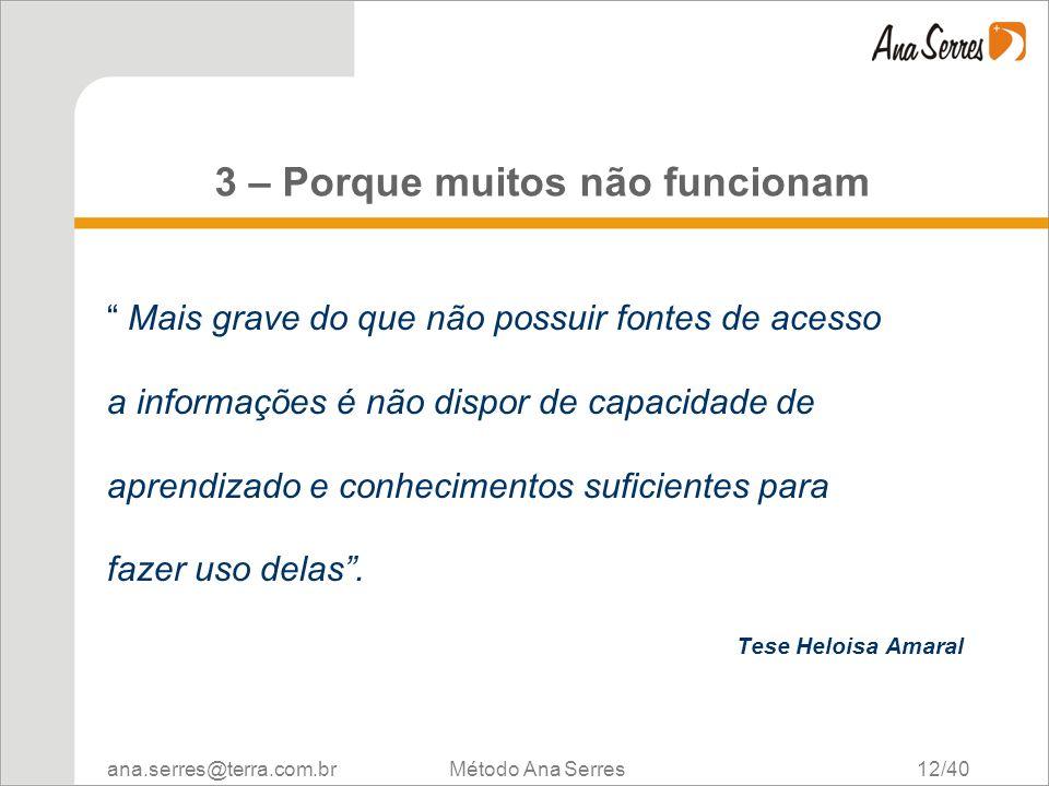 ana.serres@terra.com.br Método Ana Serres 12/40 3 – Porque muitos não funcionam Mais grave do que não possuir fontes de acesso a informações é não dis
