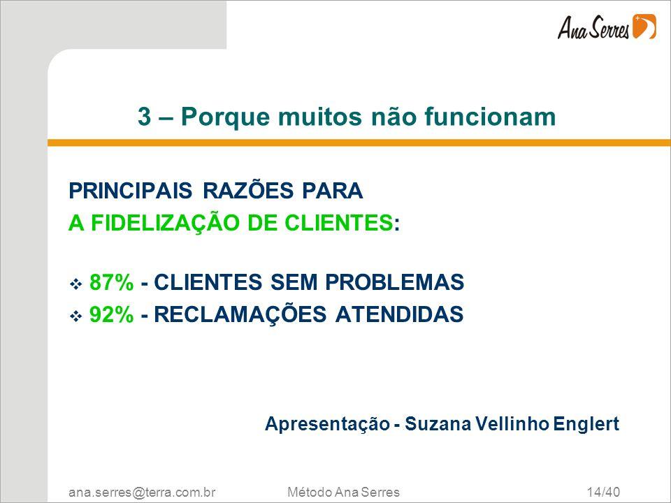 ana.serres@terra.com.br Método Ana Serres 14/40 3 – Porque muitos não funcionam PRINCIPAIS RAZÕES PARA A FIDELIZAÇÃO DE CLIENTES: 87% - CLIENTES SEM P