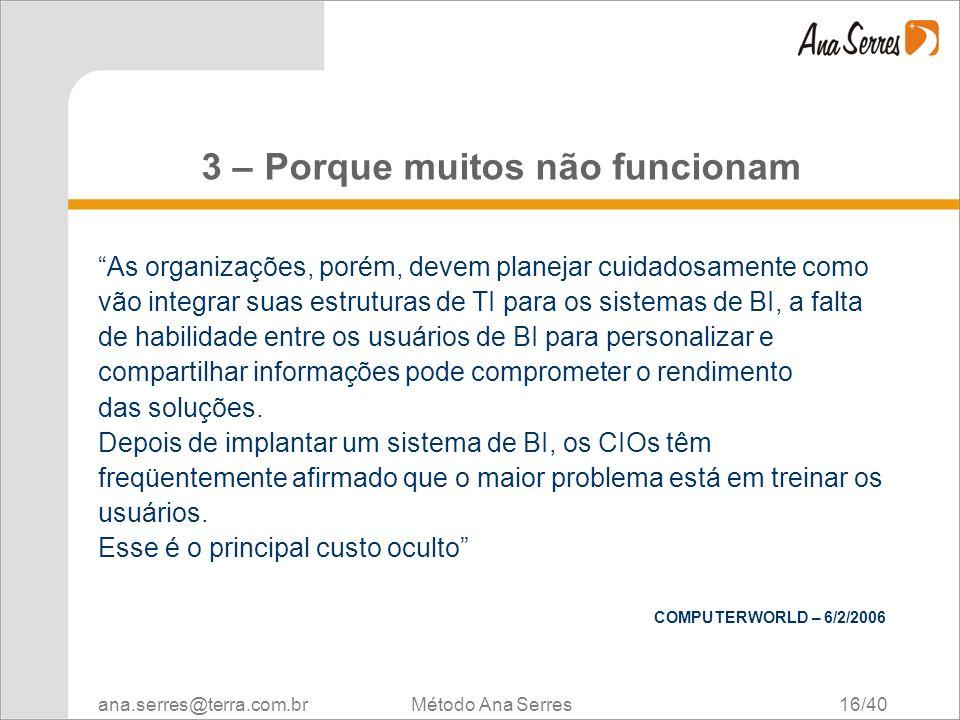 ana.serres@terra.com.br Método Ana Serres 16/40 3 – Porque muitos não funcionam As organizações, porém, devem planejar cuidadosamente como vão integra