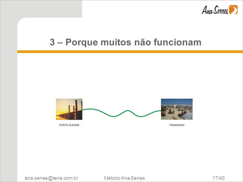 ana.serres@terra.com.br Método Ana Serres 17/40 3 – Porque muitos não funcionam