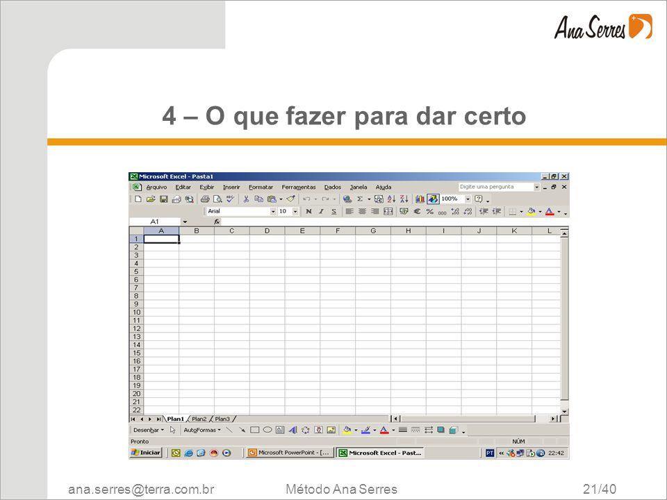 ana.serres@terra.com.br Método Ana Serres 21/40 4 – O que fazer para dar certo