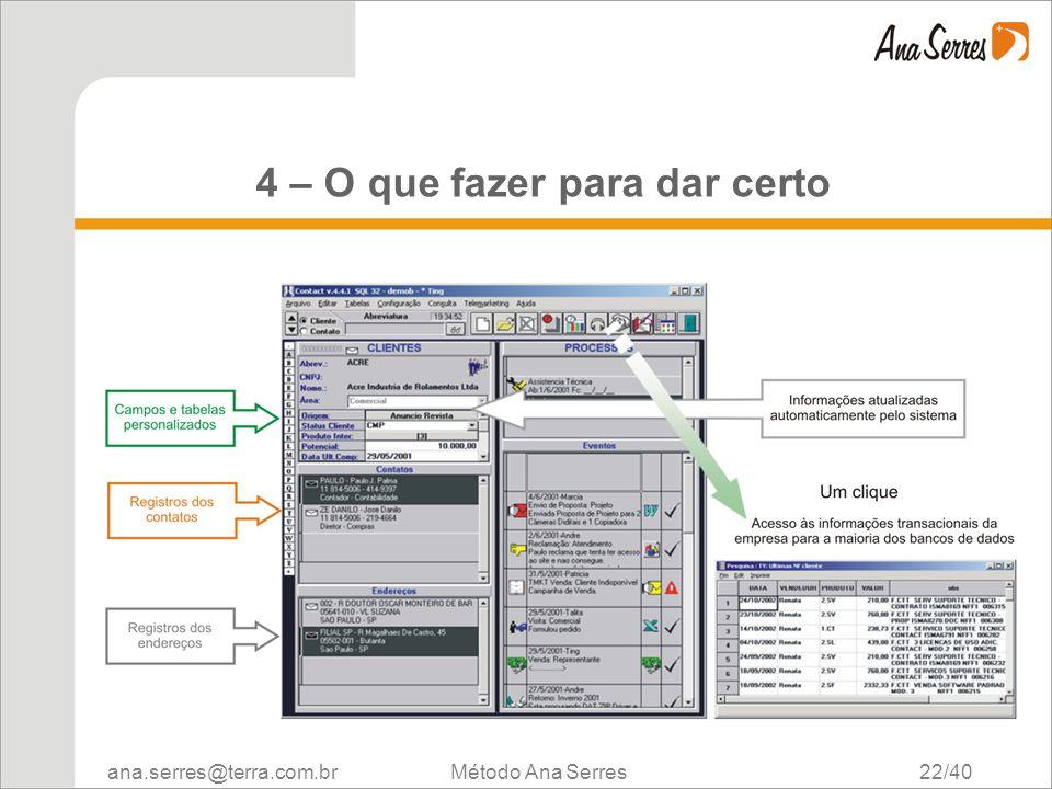 ana.serres@terra.com.br Método Ana Serres 22/40 4 – O que fazer para dar certo